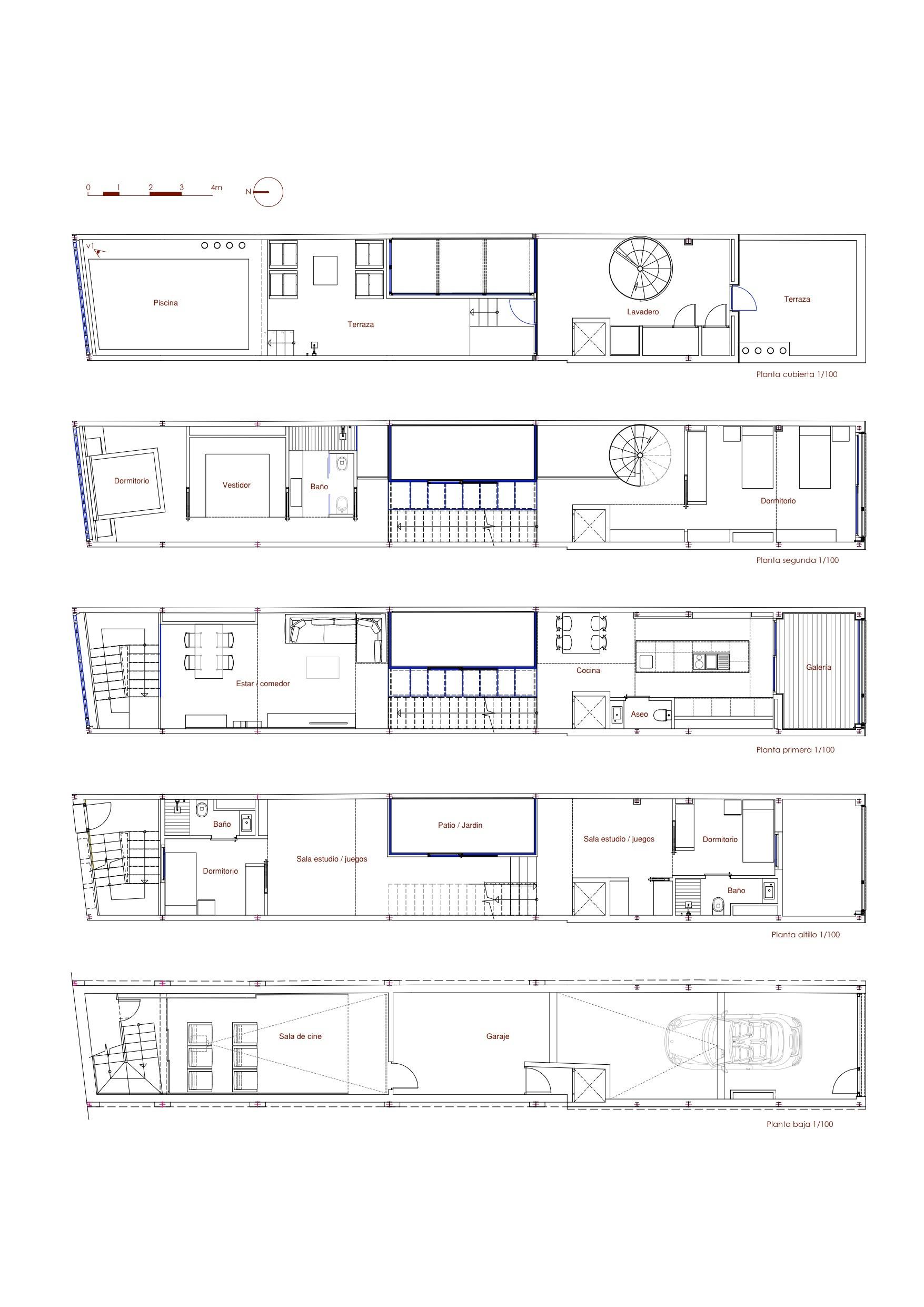 Vivienda unifamiliar entre medianeras ferrolan lab for Plantas de arquitectura