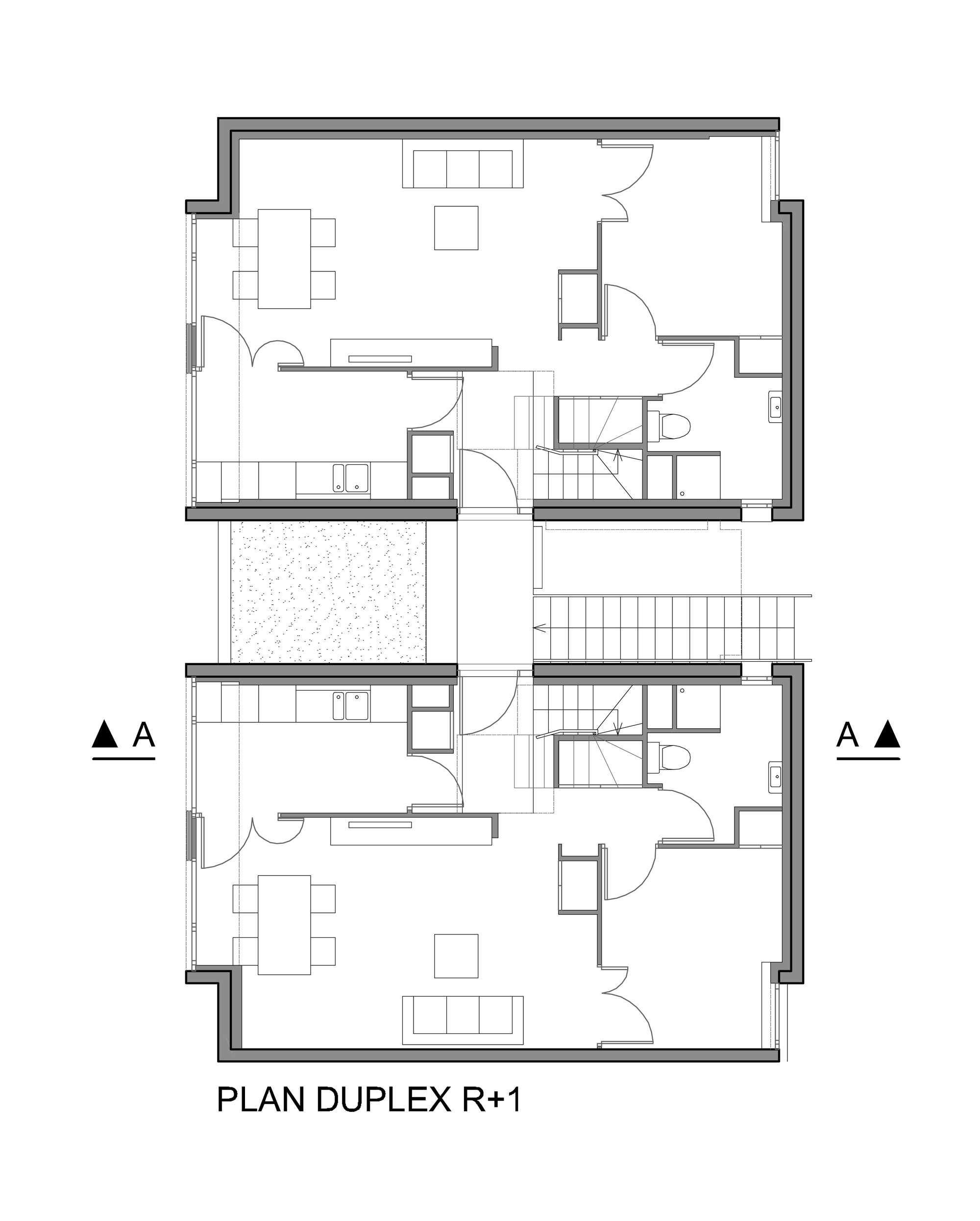 Duplex housing floor plans house design plans for Housing blueprints floor plans