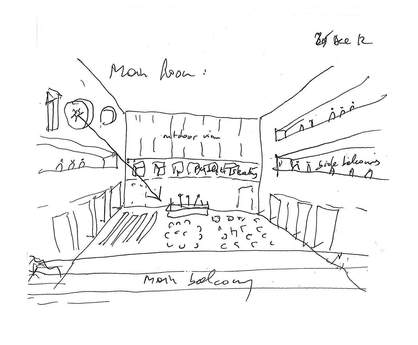 Main room (sketch by Bernard Tschumi); Courtesy of Bernard Tschumi Architects