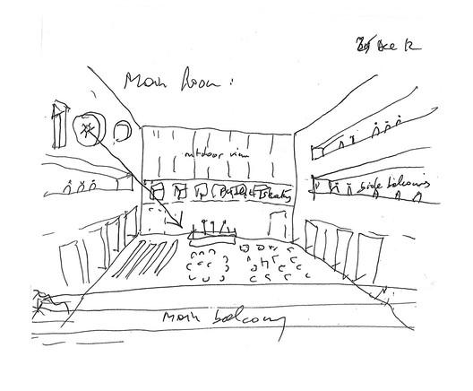 Main room (sketch by Bernard Tschumi); Courtesy of Bernard Tschumi Architects