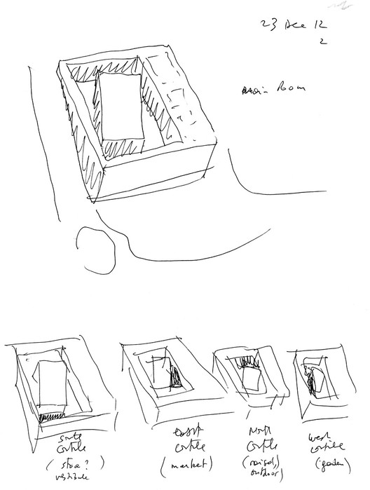 Main room and the four courtyards (sketch by Bernard Tschumi); Courtesy of Bernard Tschumi Architects