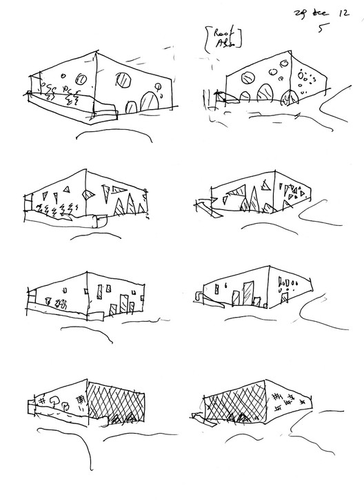 Facade studies (sketch by Bernard Tschumi); Courtesy of Bernard Tschumi Architects