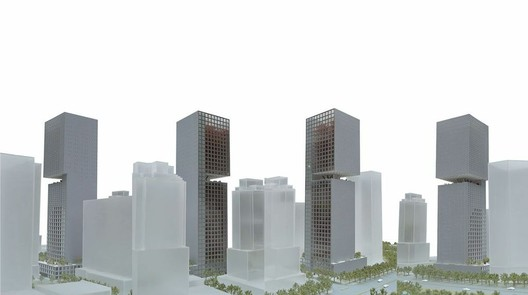 Rendering for OMA's Essence Financial Building. Image courtesy of OMA