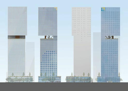 Plans for OMA's Essence Financial Building. Image courtesy of OMA