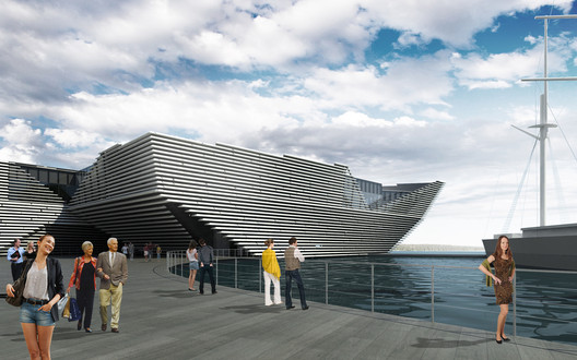 Kengo Kuma's competition winning design for the V&A at Dundee. Courtesy V&A.