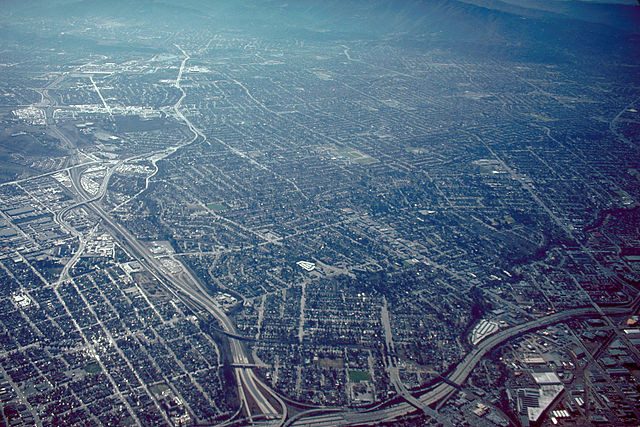 Aerial view of San José, California, USA. Image via <a href='https://creativecommons.org/licenses/by-sa/3.0/'>Wikimedia</a> Commons User Robert Campbell