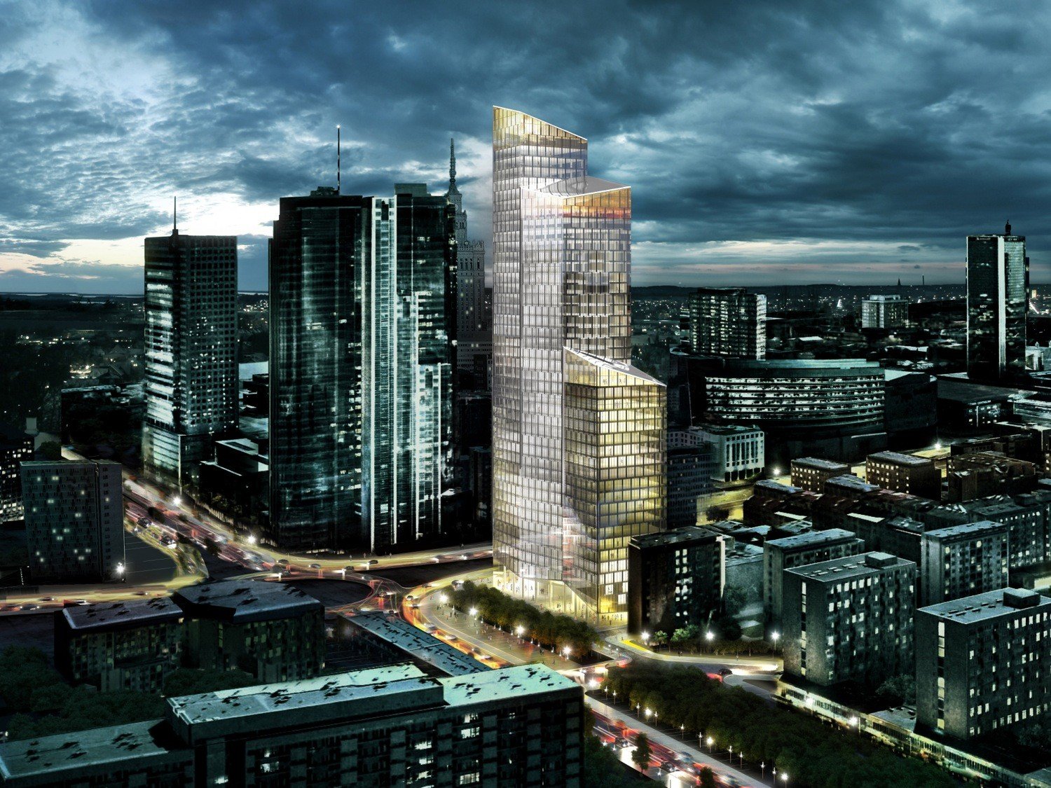 Schmidt Hammer Lassen's LEED Gold 188 meter tall office tower in central Warsaw.