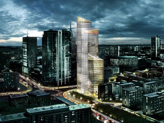 Schmidt Hammer Lassen's LEED Gold 188 meter tall office tower in central Warsaw.