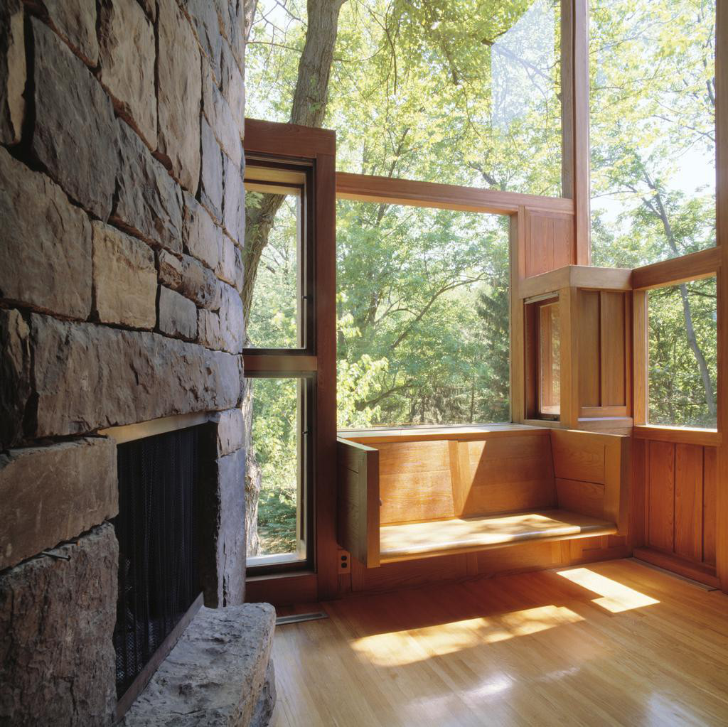 Living Room of the Norman and Doris Fisher House, Hatboro, Pennsylvania, Louis Kahn, 1960-67 / © Grant Mudford