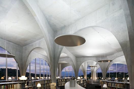 Librería de la Universidad de Tama. Imagen ©Iwan Baan.