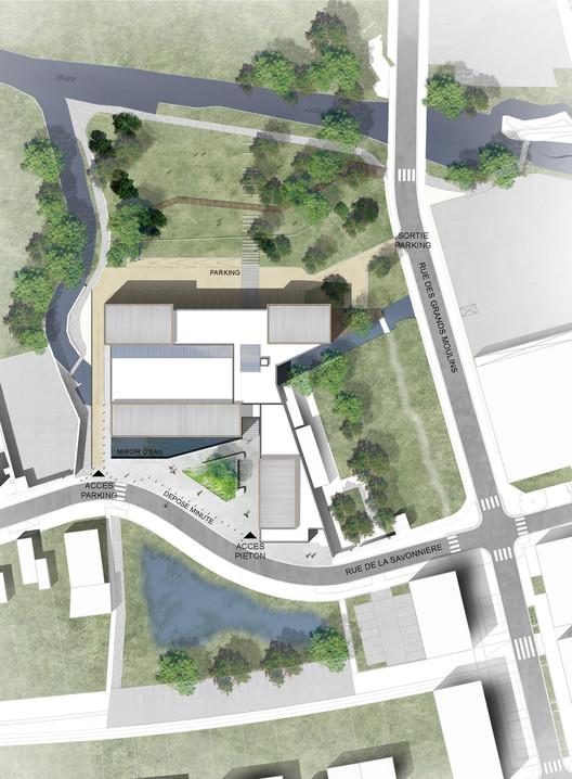 Les grands moulins sport complex ligne 7 architecture for Plan masse architecture