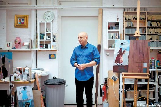 Brian Eno in his London studio. Via The Financial Times