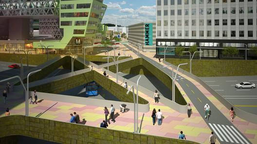 Car-lite vision of Westwood Village, image courtesy Neil Denari Architects