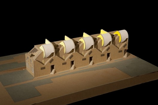 """Five Condominiums / Pasadena, California, 1981 / Eric Owen Moss / Model, first scheme / Cardboard, chipboard, and colored paper, 14 3/8"""" x 9 3/8"""" x 3 ¼"""" / Courtesy of the architect. Photos by Tom Bonner"""
