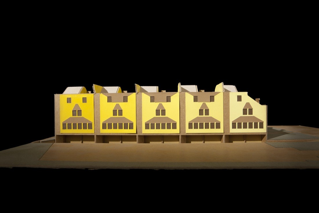 "Five Condominiums / Pasadena, California, 1981 / Eric Owen Moss / Model, first scheme / Cardboard, chipboard, and colored paper, 14 3/8"" x 9 3/8"" x 3 ¼"" / Courtesy of the architect. Photos by Tom Bonner"