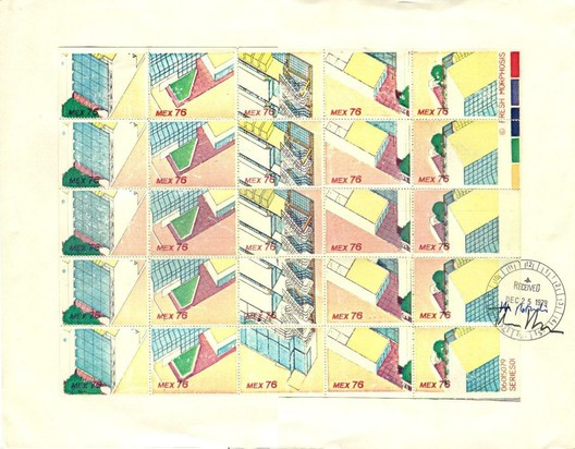 """Stamps / 1979 / Morphosis (Thom Mayne and Michael Rotondi) / Partial isometric views of the Reidel Medical Building / Color copy mounted on board with ink stamp and signatures, 10 ¾"""" x 14"""" / Courtesy of Morphosis Architects"""