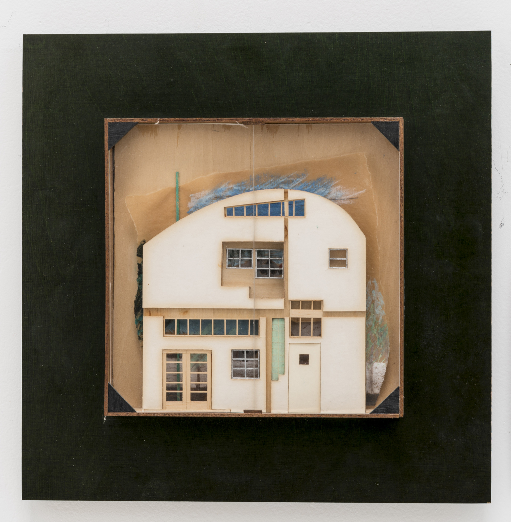 "Caplin Residence / Venice, California, 1978 / Frederick Fisher / Relief model of interior façade / Mixed media, 13"" x 13"" / Collection of the architect. Photo by Joshua White"