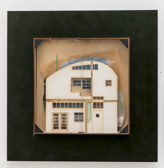 """Caplin Residence / Venice, California, 1978 / Frederick Fisher / Relief model of interior façade / Mixed media, 13"""" x 13"""" / Collection of the architect. Photo by Joshua White"""
