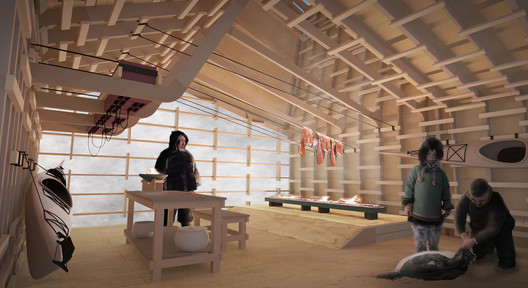 Interior rendering of Arctic Food Network cabin © Lateral Office, 2012