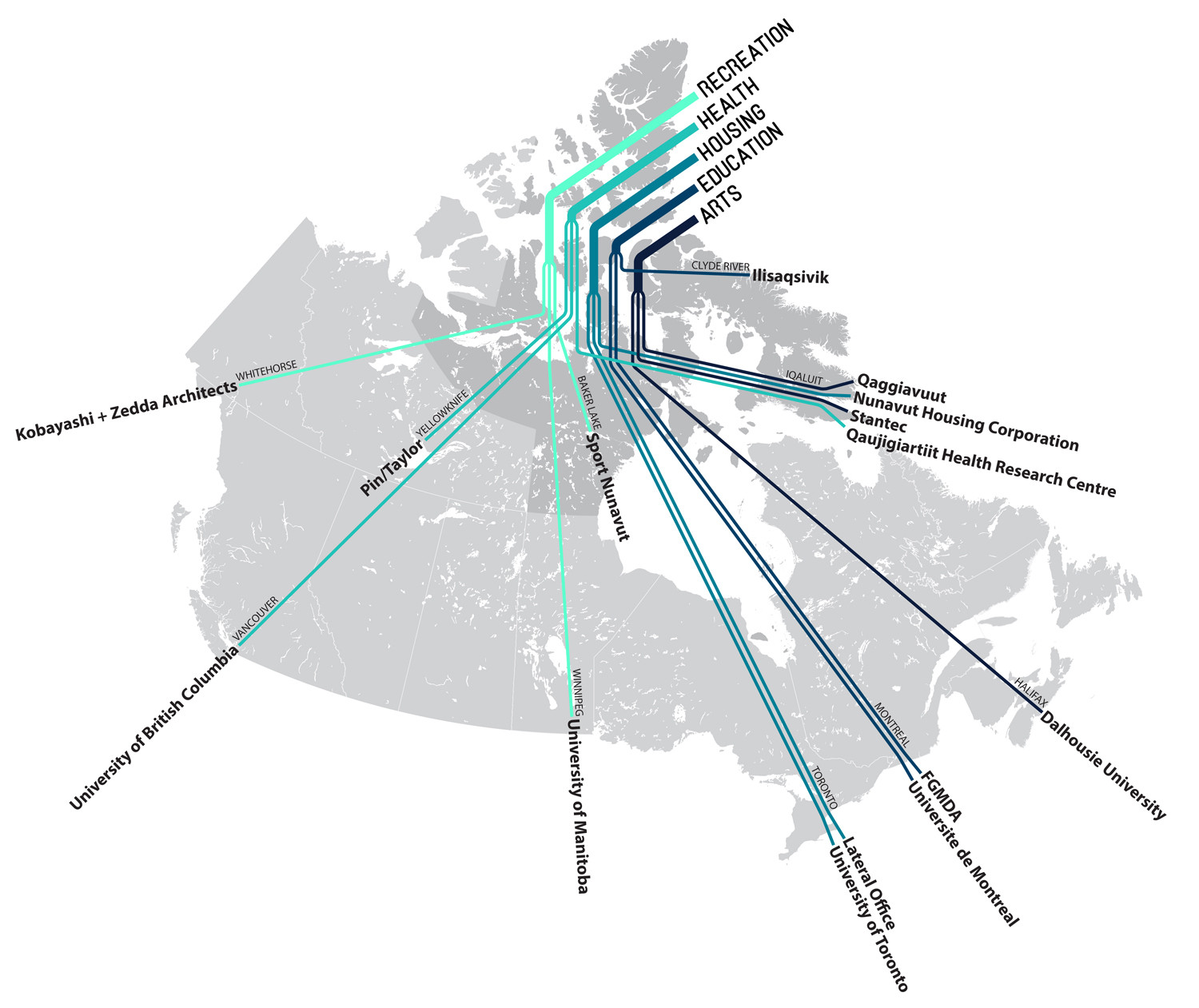 Map diagram of Arctic Adaptations team members © Lateral Office, 2013
