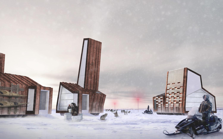 Render de las estructuras de Arctic Food Network © Lateral Office, 2012
