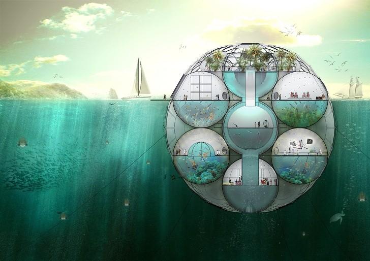 Bloom: Granja flotante de fitoplancton absorbe dióxido de carbono y permite monitorear los niveles del mar, Cortesia de Sitbon Architectes