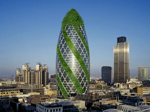 Famoso edificio Gherkin de Londres se vuelve verde... literalmente, Famoso edificio Gherkin de Londres se vuelve verde... literalmente