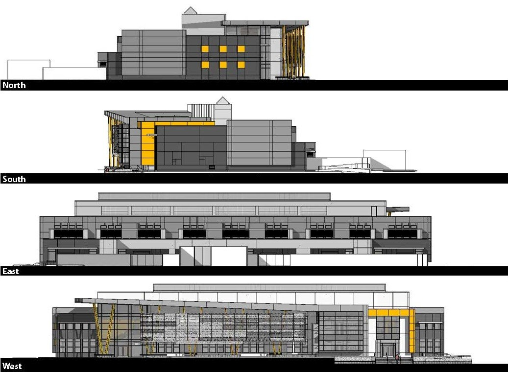 Gallery of edison high school academic building darden for Elevation plans for buildings