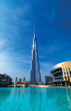 Otis elevators are in the Burj Khalifa in Dubai, the world's tallest building at 2,722 ft. Image © Emaar properties.