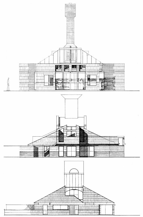 Venturi Scott Brown, Vanna Venturi House, Early Schemes, Chestnut Hill, Philadelphia, Pennsylvania, 1962