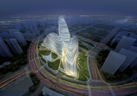Wangjing SOHO: Northwest Aerial © Zaha Hadid Architects