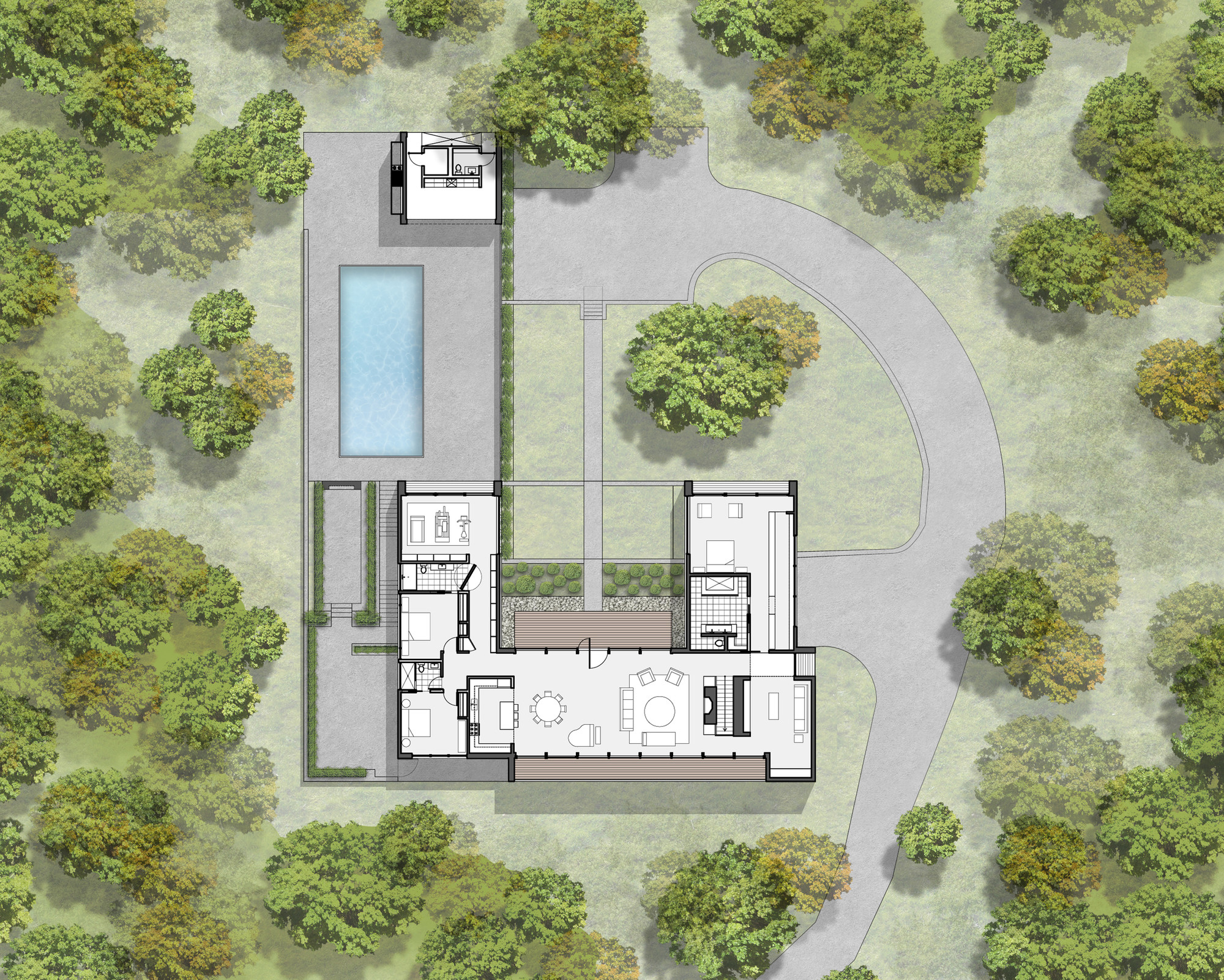 Gallery of new canaan residence specht harpman 23 for Home site plan