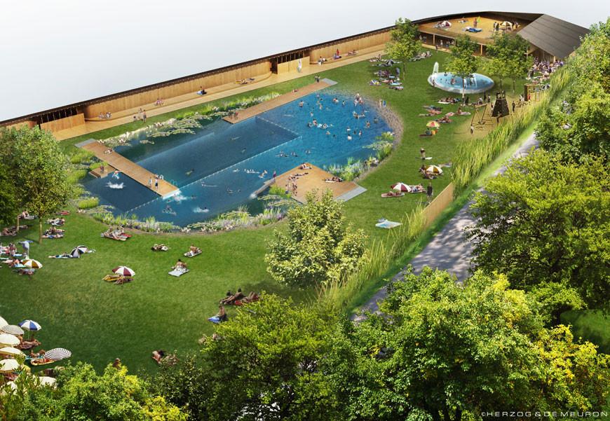 Herzog de meuron breaks ground on public bathing lake in riehen archdaily - Public swimming pool design ...