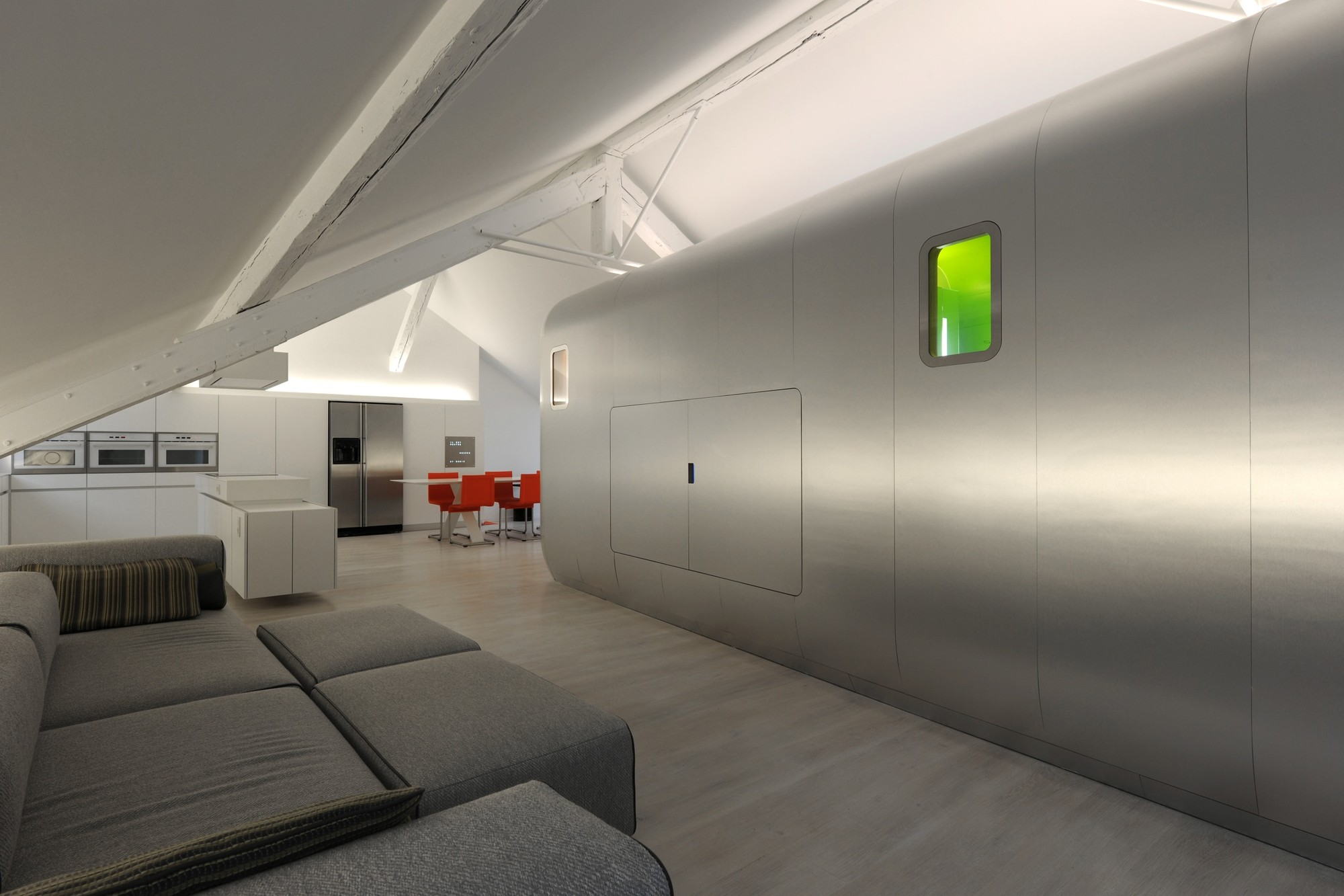 hi tech loft wohnung loft dethier architecture | möbelideen, Badezimmer ideen