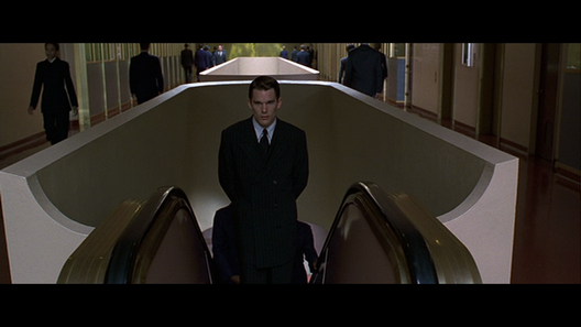 Screenshot of Frank Lloyd Wright's Marin Center in the film Gattaca. Courtesy of Columbia Pictures.