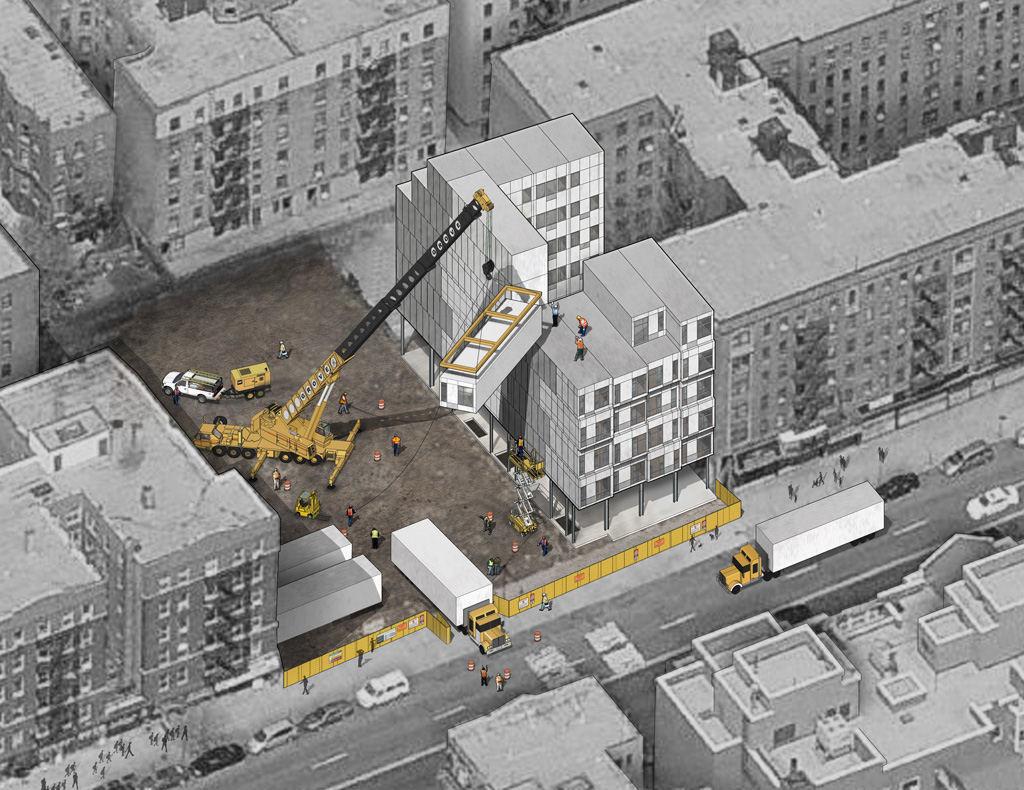 Edificio de viviendas prefabricado de acero y hormigón se levantará en tan sólo un mes en Nueva York, © Peter L. Gluck Partners