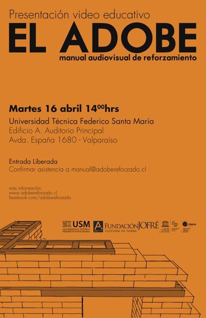 """Presentación Video """"EL ADOBE manual audiovisual de reforzamiento"""", Courtesy of USM"""