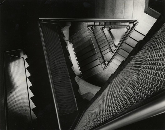 Yale University Art Gallery, ca. 1954. Construction view of staircase. Photo © Lionel Feininger. Yale University Art Gallery Archives.