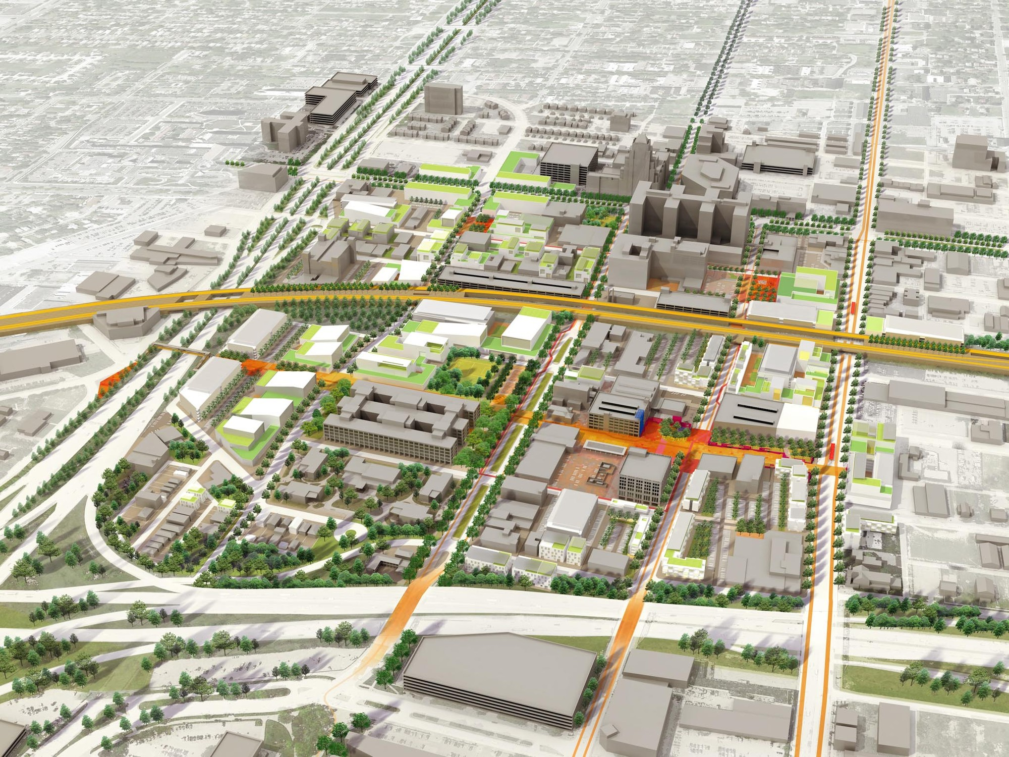 TechTown District Plan / Sasaki Associates, Courtesy of Sasaki Associates