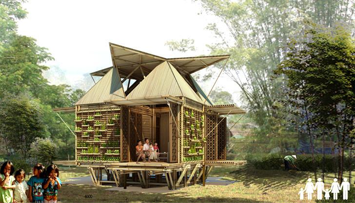 Casas de bambú de H&P Architects resistirían inundaciones flotando sobre tambores reciclados, Courtesy of H&P Architects