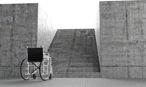 The Architect and the Accessible City: The Prize-Winning Essay, Image of wheelchair in front of barrier via shutterstock.com