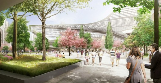 The tech plaza, with the first academic building and proposed solar canopy in the background. © Kilograph