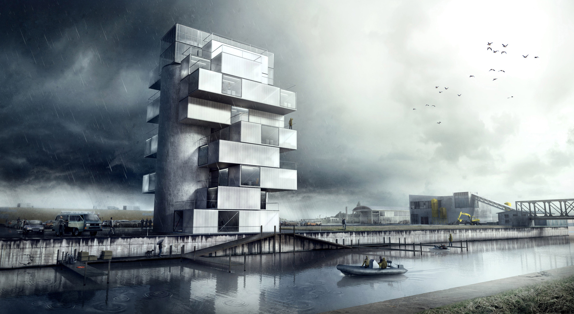 'BS25' Silos - Diving and Indoor Skydiving Center Proposal / Moko Architects, Courtesy of Moko Architects