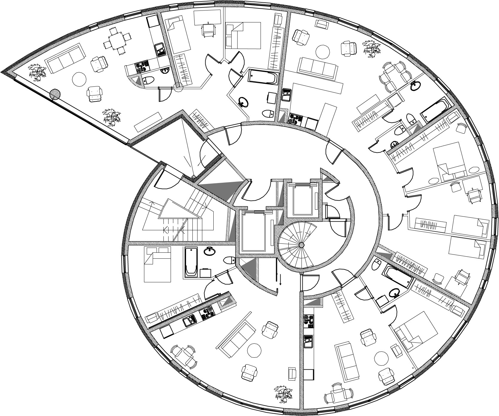 Snailtower k nnapu padrik architects archdaily Architectural floor plans