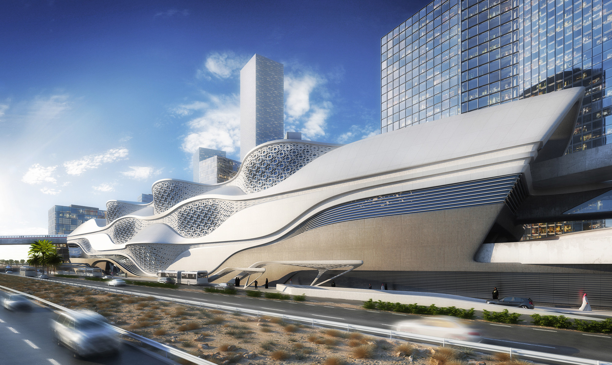 Zaha Hadid Architects Selected to Design the King Abdullah Financial District Metro Station in Saudi Arabia , Courtesy of ZHA
