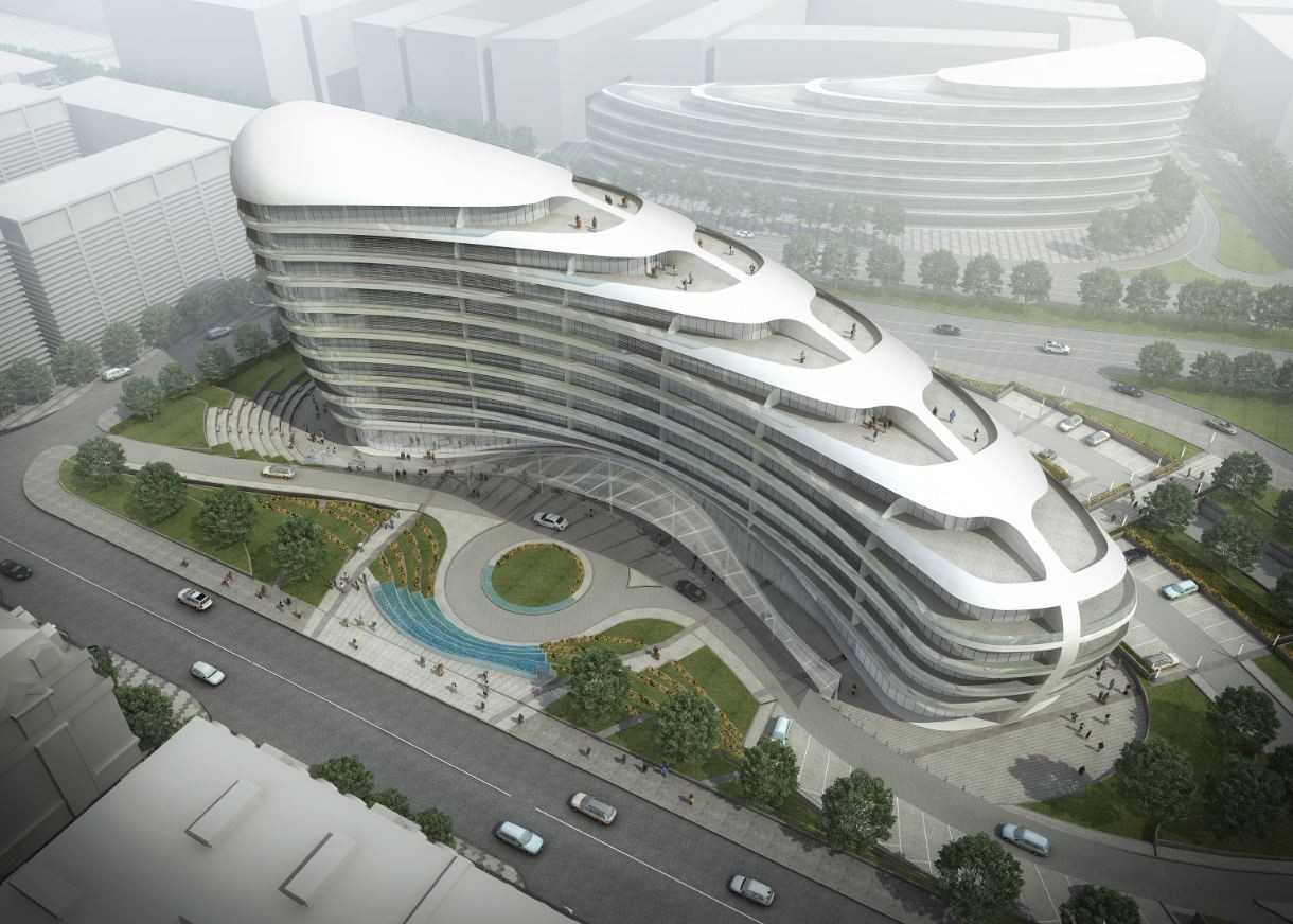 Baku white city office building proposal adec for Architecture design company