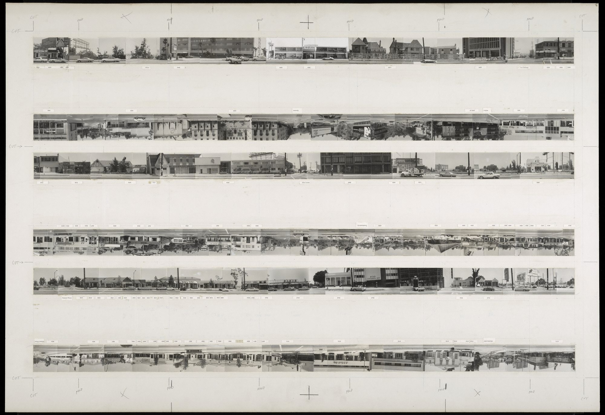 © Edward Ruscha-The Getty Research Institute, Los Angeles (2012.M.1) / Edward Ruscha photographs of Los Angeles streets and related documentation: Sunset Boulevard and Hollywood Boulevard.