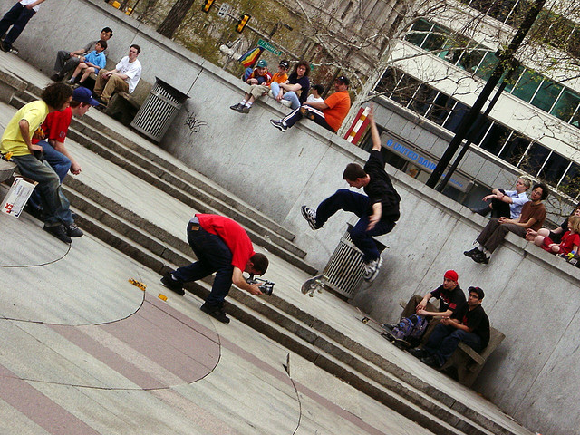 Skaters at Philadelphia's JFK Plaza © RobertFrancis via Flickr. Used under <a href='https://creativecommons.org/licenses/by-sa/2.0/'>Creative Commons</a>