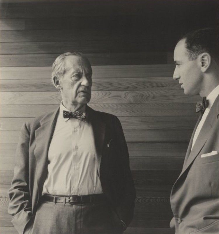 Walter Gropius with Harry Seidler in 1954. Image <a href='https://commons.wikimedia.org/wiki/File:Gropius_and_Seidler_by_Dupain_1954.jpg'>via Wikimedia Commons</a> (image by Max Dupain in the public domain)