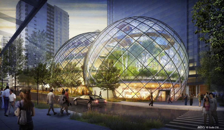 NBBJ propone bio-domos para las oficinas centrales de Amazon en Seattle, Imagen desde la 7th Avenue & Lenora Street; Cortesía de Seattle.gov © NBBJ / Studio 216